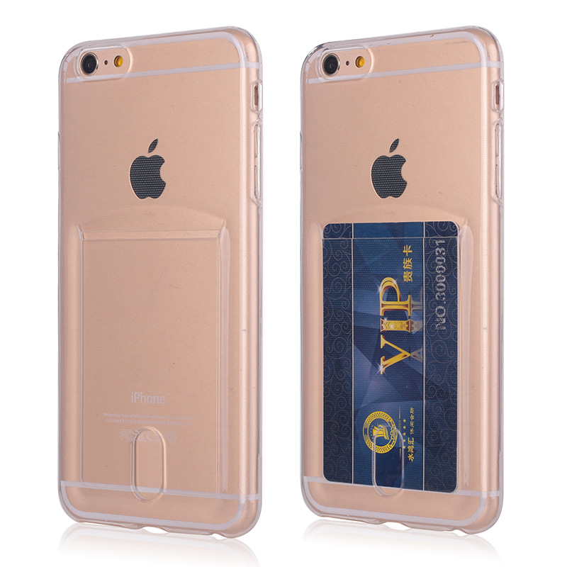 YISHANGOU Phone Case For iPhone 8 Plus Credit Card Holder Soft TPU Transparent Back Cover For iPhone 5 5S SE 6 6S Plus 7 Plus
