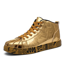 Women/Men Fashion Graffiti Sneakers Shoes Female Lovers Gold Silver Platform Flats Lady Casual