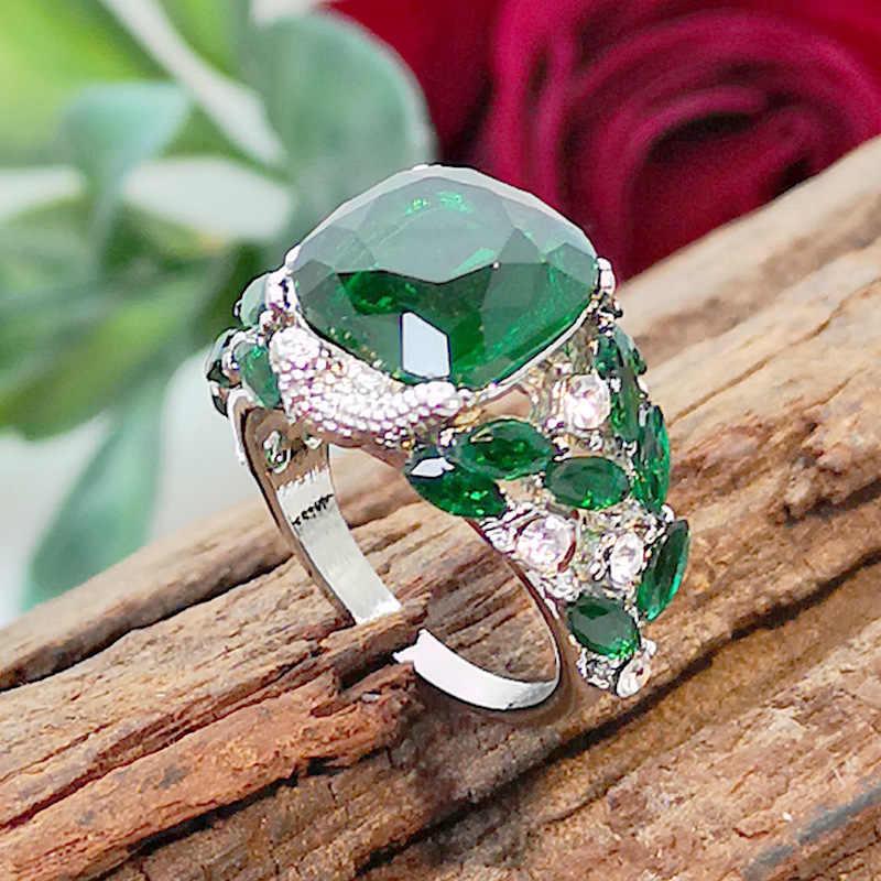 Vintage หินสีเขียวแหวนสำหรับงานแต่งงานนกเงินแหวนคริสตัลแหวนเครื่องประดับ Bague Femme Man Anillos Mujer O3N166