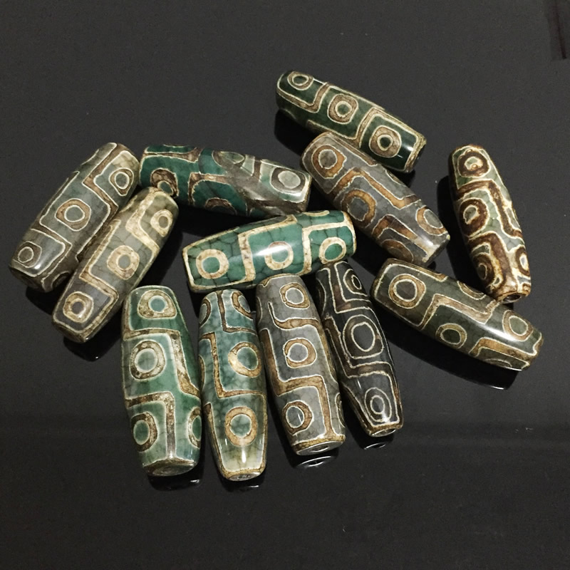 40mm Vintage Green Stone Natural Tibetan Dzi Agates Stone Beads Oval Geometric Nine-eyed Antique Agates Beads For Women Male