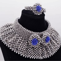 Dudo JEWELRY Choker Necklace Set Dubai Jewellery Sets Silver With Blue Coral Flowers Free Shipping African Beads Bride Set 2019