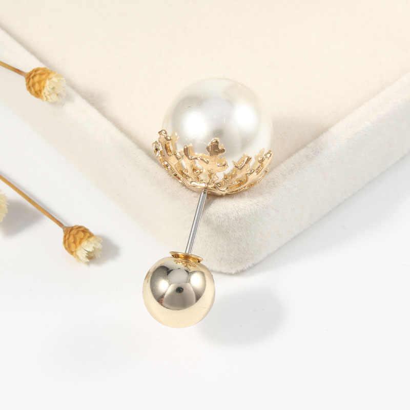 2019 Berkualitas Tinggi Vintage Emas Bros Pin Ganda Kepala Simulasi Mutiara Besar Besar Bros untuk Wanita Pernikahan Perhiasan