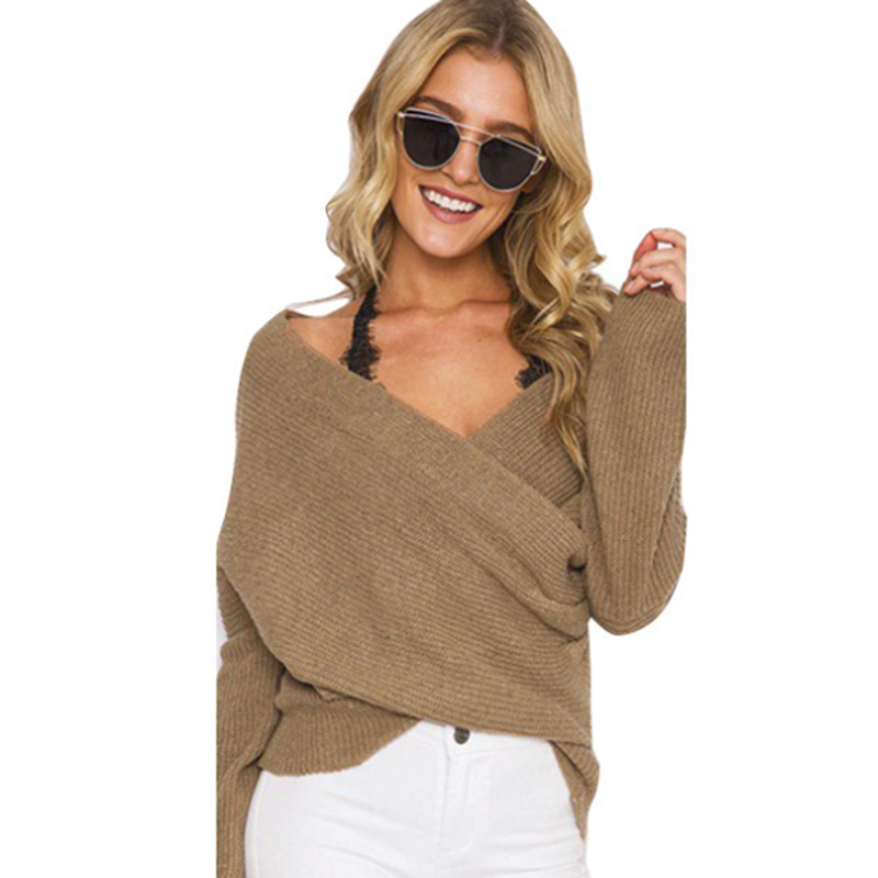 new Europe style sexy V-neck woman sweater cute solid female winter autumn chic pullover