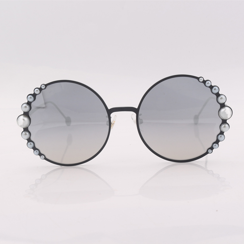 High quality black round metal frame sunglasses women silver mirrored lens women sunglasses with plastic pearls