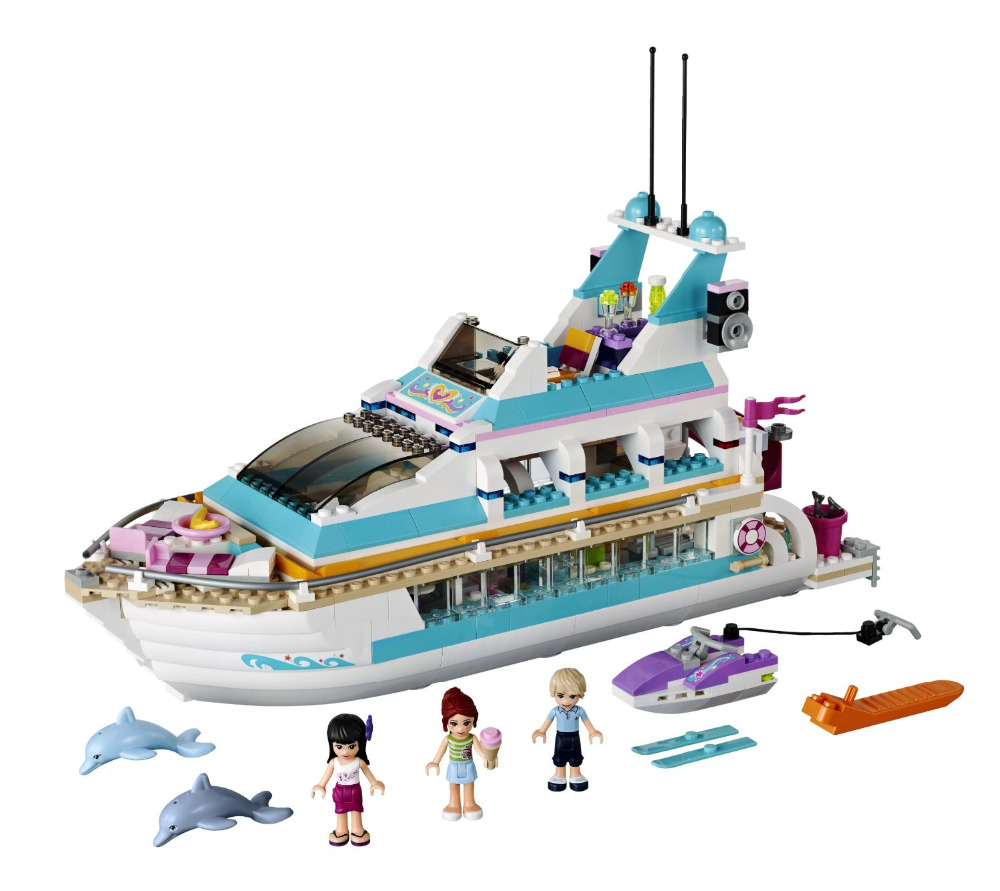 BELA Friends Series Dolphin Cruiser Building Blocks Classic For Girl Kids Model Toys  Marvel Compatible Legoe bela city police crook pursuit building blocks classic for girl boy kids model toys marvel compatible legoe