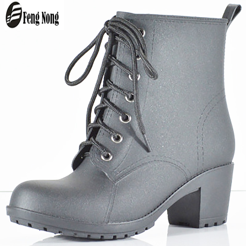 Fengnong classical rain boots flat waterproof shoes woman water rubber lace up ankle martin boots 5.5cm heel botas w111