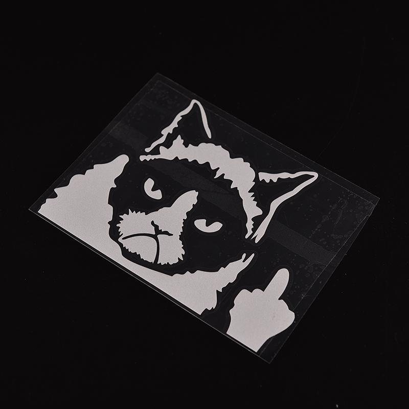 1 pc funny the bad cat reflective fashion cars motorcycles white stickers decal styling accessories decoration free shipping in car stickers from