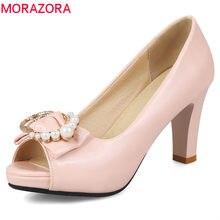 1fc28c61b4 MORAZORA 2018 chegada nova mulher bombas doce rosa peep toe verão sapatos  tamanho grande 33-43 alta moda calcanhar sapatos sapat.