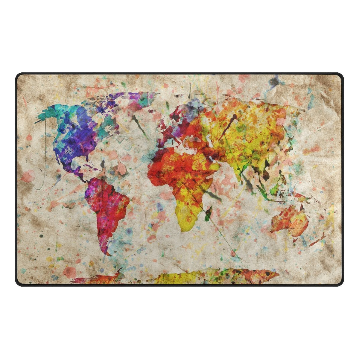 World Map Baby Rug: Colorful Vintage World Map Kids Children Area Rugs Non