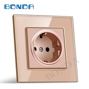 Image 5 - รุ่นBONDA EUมาตรฐานสีขาวสีดำทองแก้วคริสตัลแผงAC 110 250V 16A Wall Power Socket16A 2100maผนังไฟฟ้าpower Socket