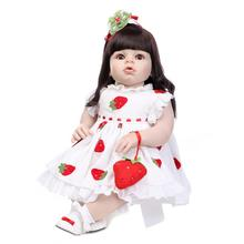 New Arianna Series 70cm Silicone Reborn Baby Dolls long brown hair girl baby alive toys clothing Model