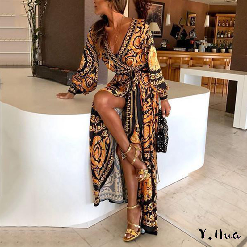 Y.Hua New Sexy Deep V Neck Evening Dresses Pattern Split Dress Printed Vestido de fiesta Long Formal Maxi Party Dress
