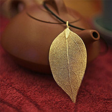 Black Small Fine Rope Costume Jewelry Gold Copper Leaf Shape Necklaces&Pendants For Women
