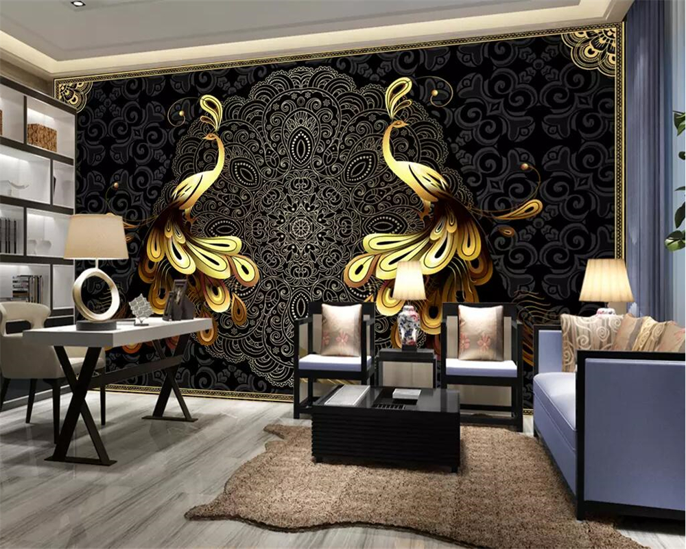 gold luxury wall background living peacock mural 3d european beibehang walls custom wallpapers parede papel