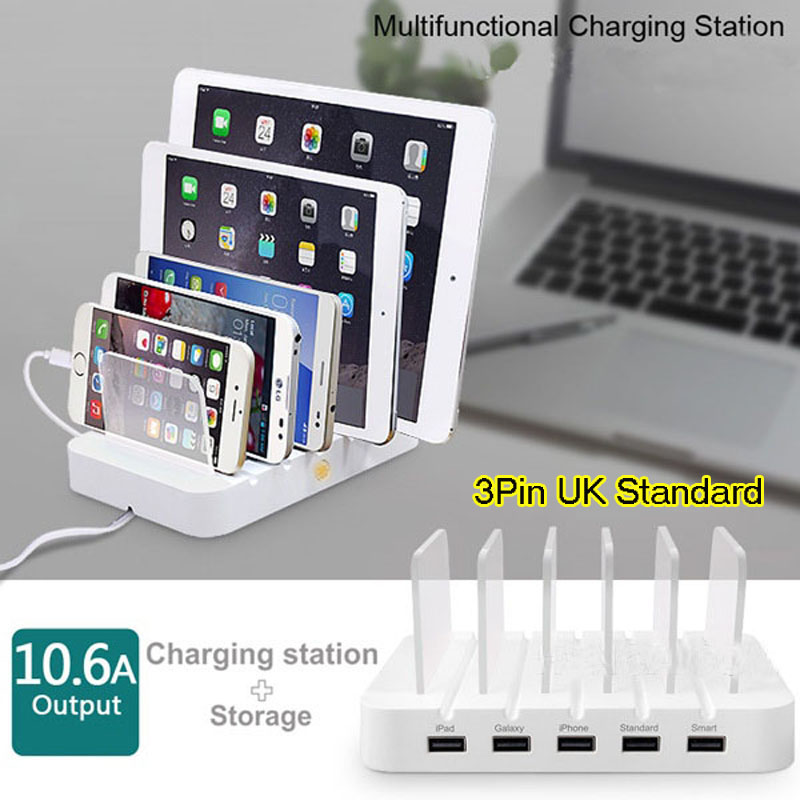 Uk Standard Hub 5 Multi Charger Dock With Usb Port 10 6a For Iphone