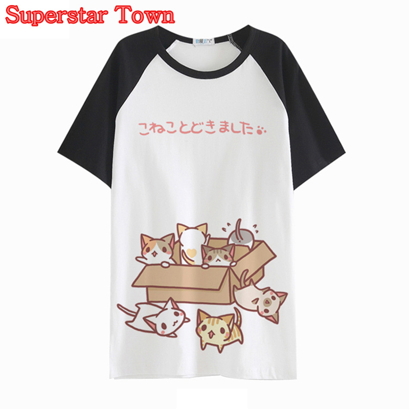 Summer Harajuku T Shirt Cute Cat Prints Womens T-shirt Japan Sweet Tees Top Short Sleeve Tee Shirt Femme