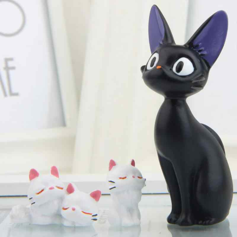 3ps/set Cartoon Resin Kawaii White Cat Black Cat Miniatus Figurine Animal Gigi Diy Micro Landscape Desktop Decor Home Decoration