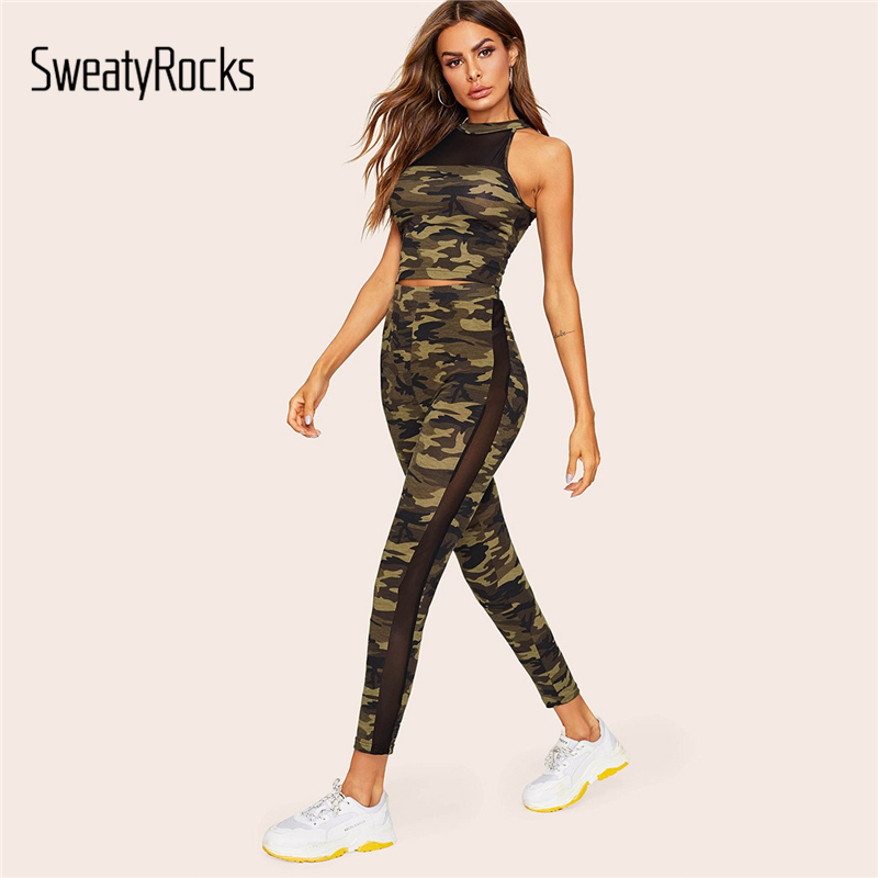 SweatyRocks Mesh Insert Fitted Camo Top And Leggings Set 2019 Summer Two Piece Skinny Crop T Shirt Army Green Women 2 Piece Set
