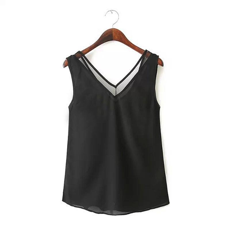Fashion Solid Color Chiffon Blouse Women Sleeveless V neck Casual Women Tops Sweet Women Clothing OL Shirt Blusa Female 5