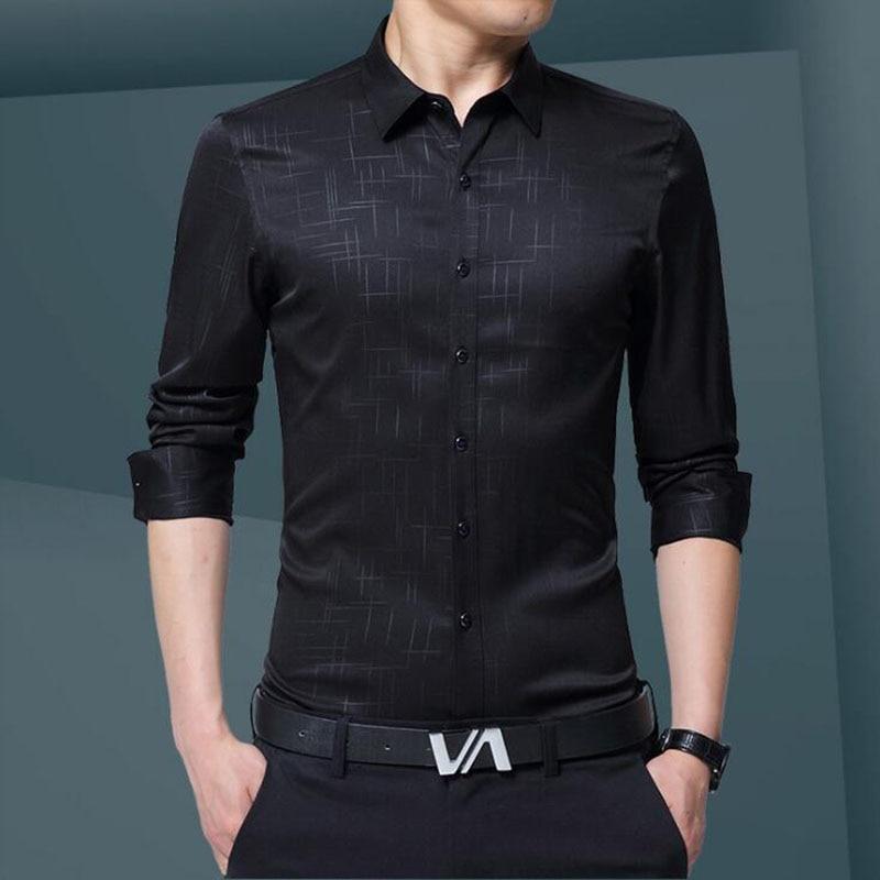 Lüks Artı Boyutu Erkek Gömlek 2017 Sonbahar Gelgit Flora Baskı - Erkek Giyim - Fotoğraf 2