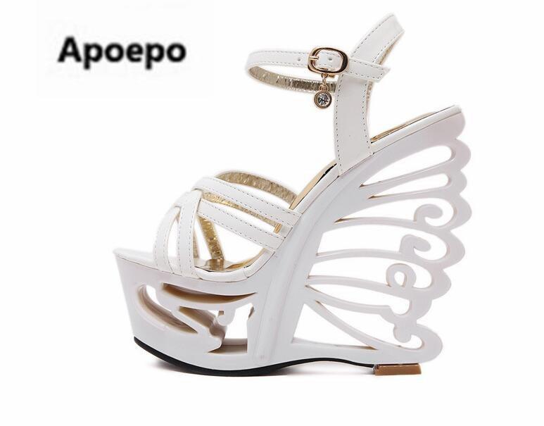 Apoepo sandalia feminina black white shoes women butterfly strange style 15 cm high heels sandals women sexy platform pumps