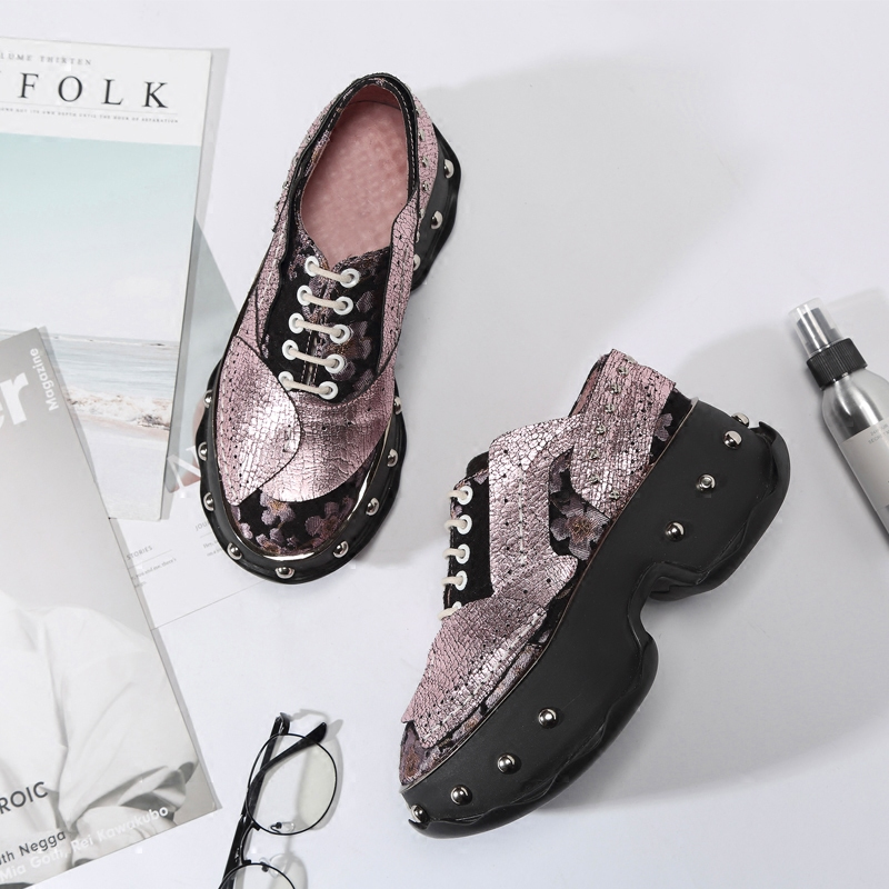 Femme Rond Mujer Bout Chaussures Dentelle Jusqu'à As Style as Appartements Occasionnels Pic Stade Chic forme Marée Plate Punk Street Pic Conception 18q4w1E