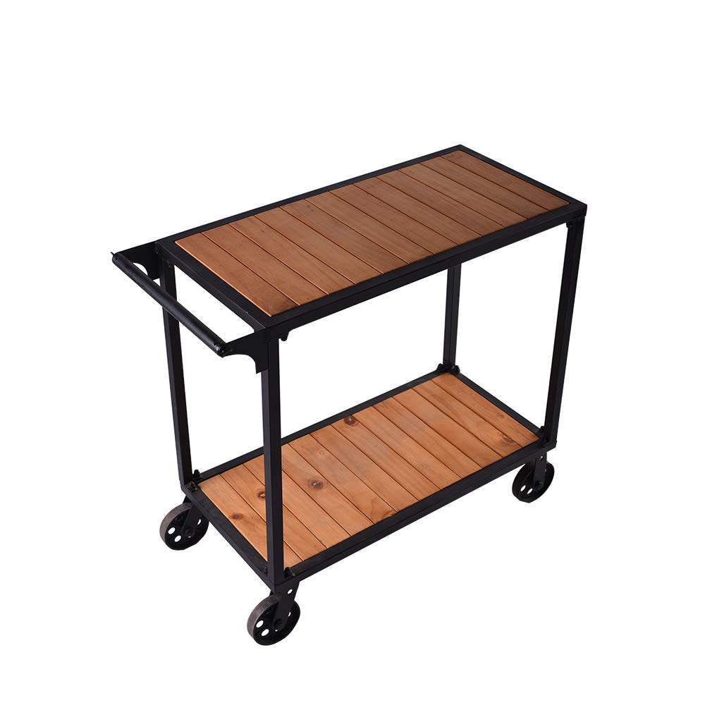 2 Tier Kitchen Serving Cart Trolley Rolling Stand Mobile Island Wood Metal Wine Cart