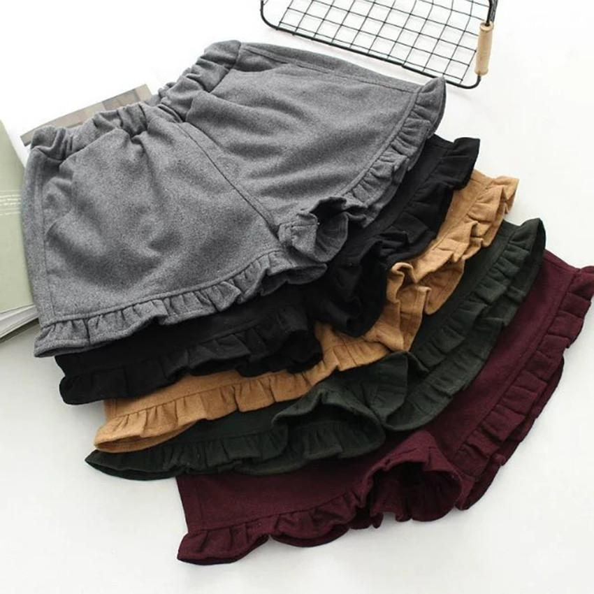 2020 All-match Skinny Japanese Style Cute Agaric Solid Color Shorts Women Spring Elastic Waist Belt Free Shipping