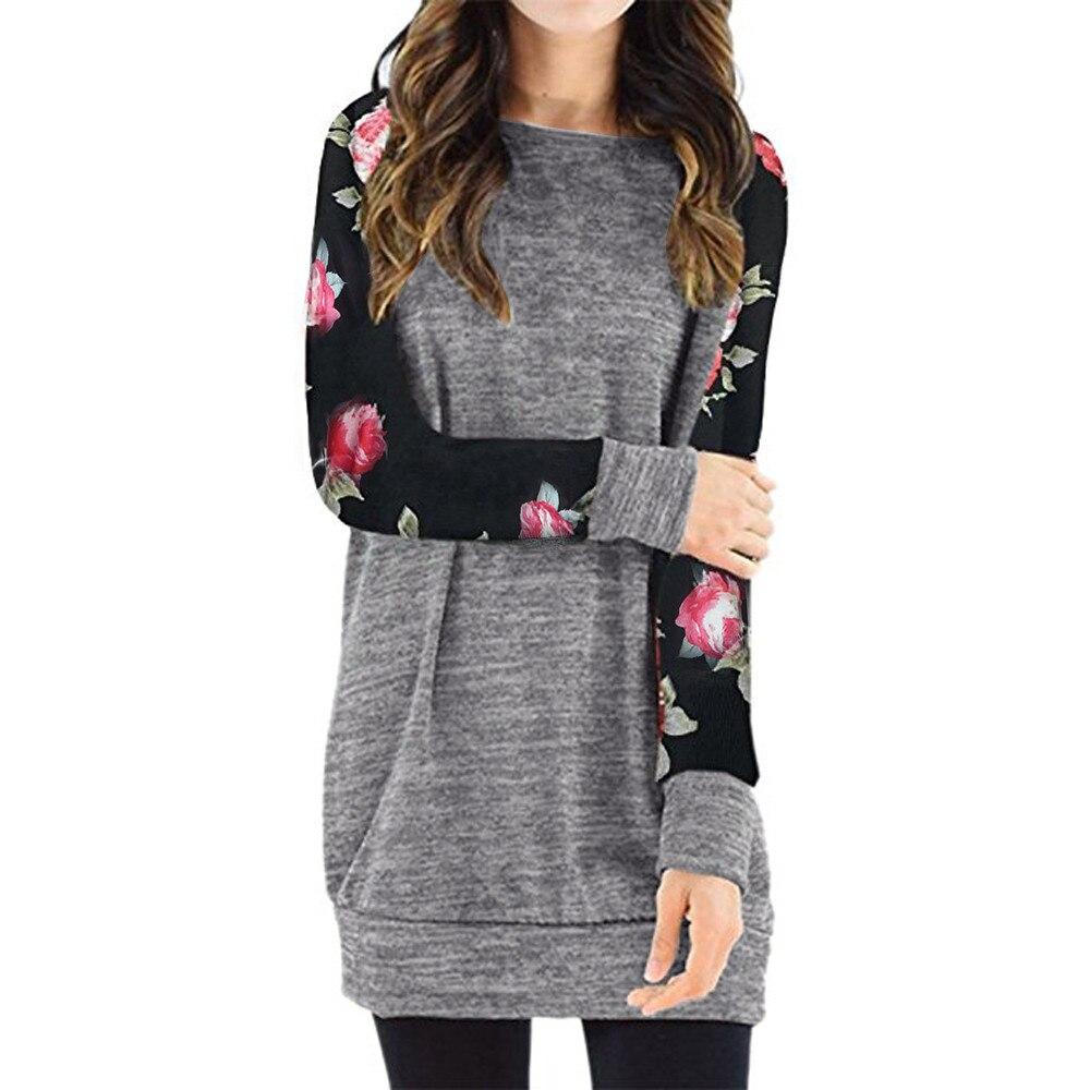New Popular Women Long Sleeve Floral Print Lightweight T