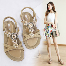 Summer sandals women 2019 new Korean bohemian flower rhinestone fashion casual flat shoes