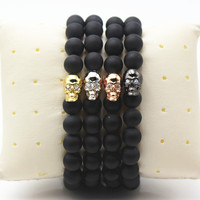 2016 New Design High Grade Jewelry Black Matte Agate Stone Bead With 18K Gold Plated Skull