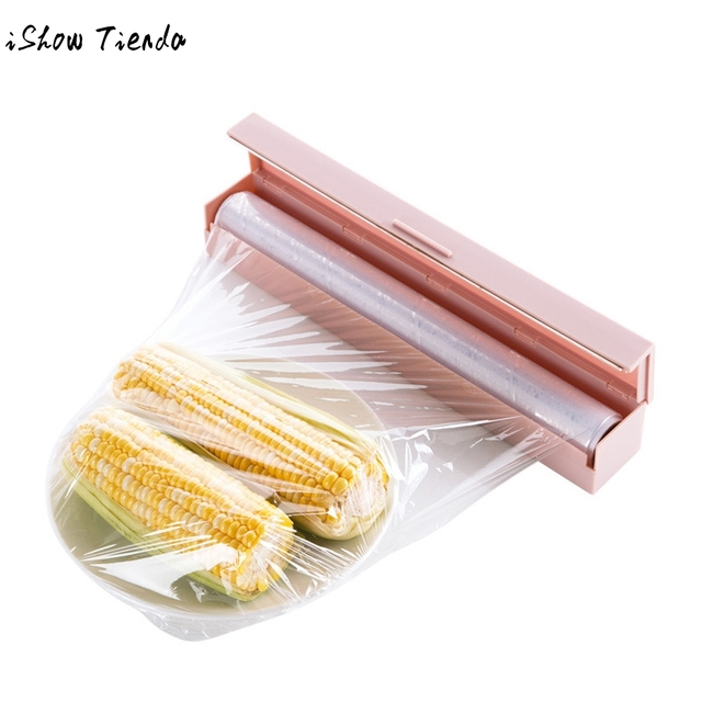 kitchen food plastic foil cling film wrap dispenser cutter storage