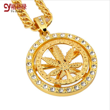 Hiphop Chunky Metal Pendant Necklace Round Rotate Leaf Crystal Pendant Gold Necklace for Men Punk Women Fashion Jewelry
