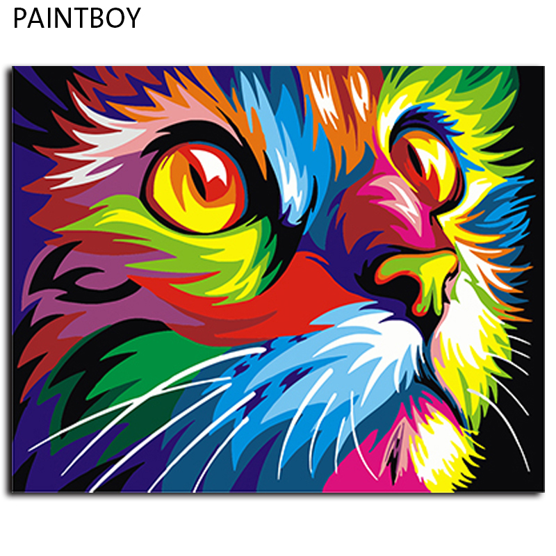 Framed Painting By Numbers Colorful Animals DIY Canvas Oil Painting Home Decor For Living Room g 40*50m Wall Art GX4228