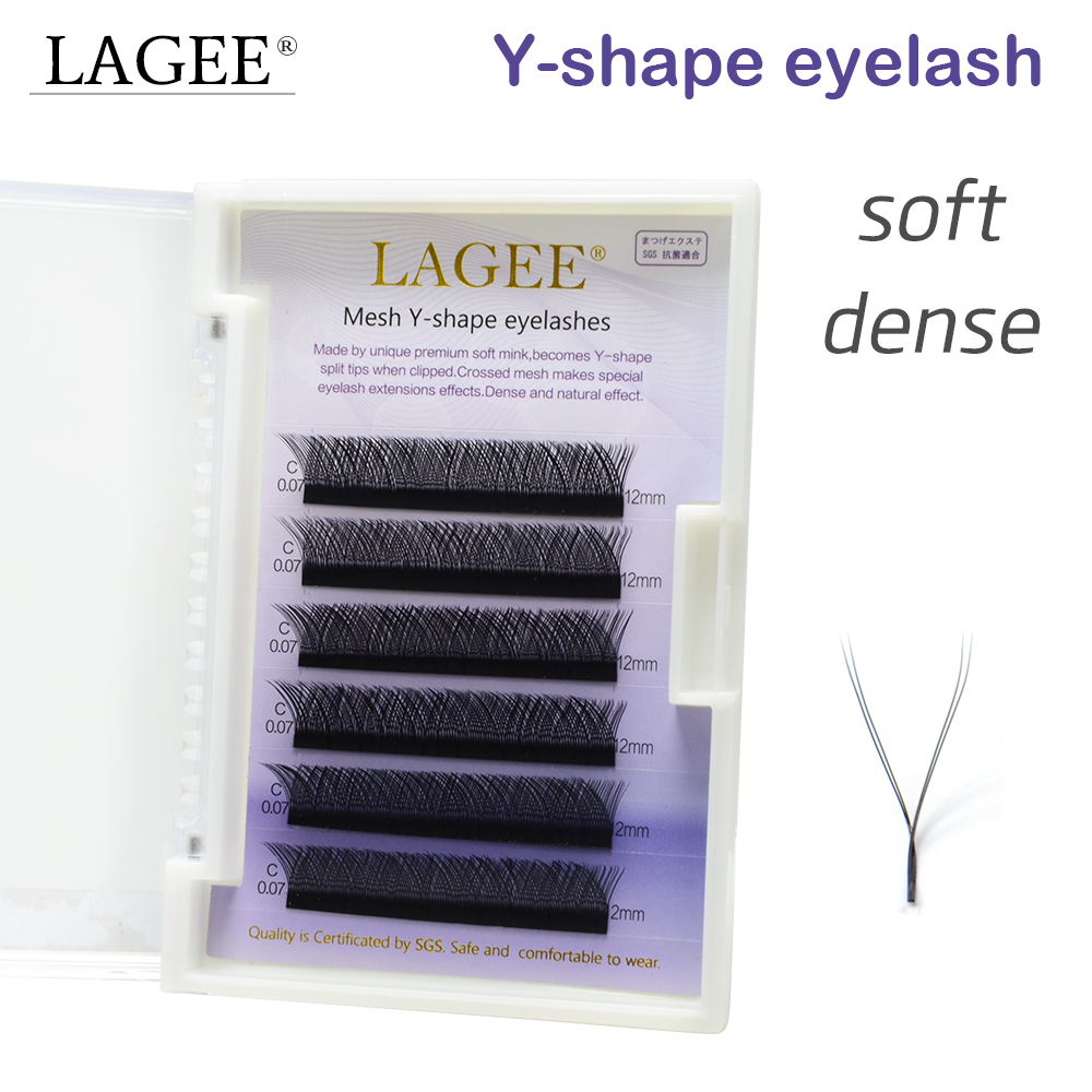LAGEE High Quality Y Shape Volume Faux Mink Eyelash Extension Natural Soft Individual Easily Grafting Dense Beauty Cilios Lashes