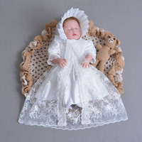 3 piezas por juego bebé niña vestido de bautismo blanco niña bautizo vestido encaje bordado sombrero del cabo 0-24meses