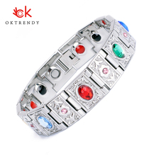 Oktrendy Stainless Steel Magnetic Therapy Bracelet Crystal Stone Charm Weight Loss Product For Women
