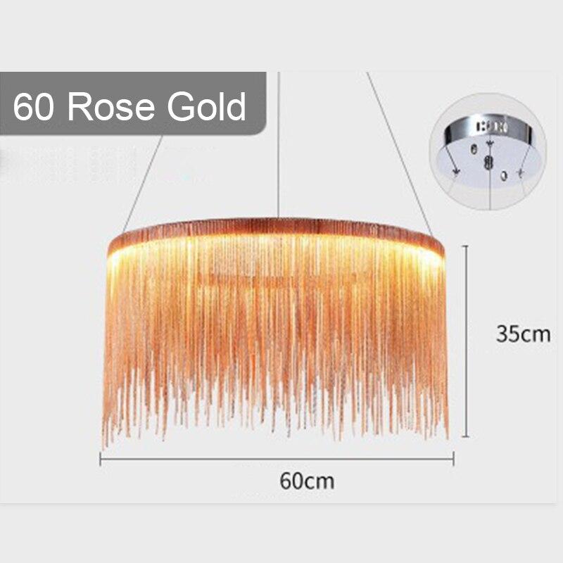 IKVVT роскошные подвесные светильники золотистого и серебряного цвета, круглые лампы с кисточками, Алюминиевый металлический корпус для гостиной, отеля, современные домашние лампы - Цвет корпуса: Dia60cm Rose Gold