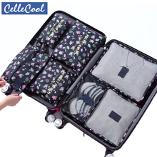Hot sale 7Pcs/set Travel Mesh Bag In Trip Clothes Finishing Kit Luggage Organizer Accessories Storage Cosmetic toiletrie