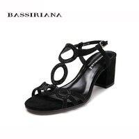 Women Sandal 2017 Summer Genuiene Leather Beige Black Suede Medium Heels Back Strap Basic Sandals Woman