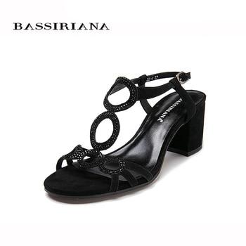 Women sandal 2017 Summer Genuiene leather Beige Black suede Medium heels Back Strap Basic sandals woman Free shipping BASSIRIANA sandal
