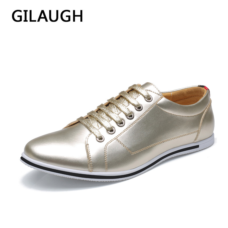 GILAUGH Big Size 38-50 Fashion Classic Style Men Shoes, Gold Silver Simple Designer Men Casual Shoes gilaugh fashion patchwork simple style suede men shoes lace up casual leather shoes zapatillas hombre big size 38 50