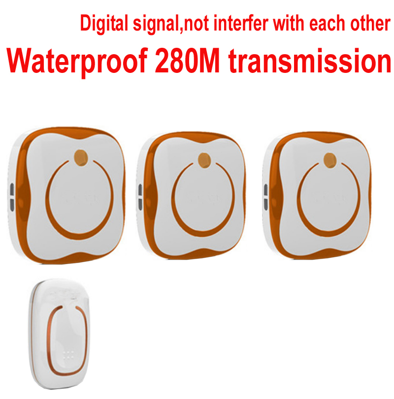 doorbell with 1 emitter+3 receivers Waterproof 280M Long-range wireless doorbell,wireless door chime,wireless bell,door bell, ks v2 welcom chime bell sensor