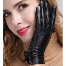Fashion New Leather Gloves Ladies Winter Sheepskin WomenS Thick Warm Touch Screen MLZ010-5