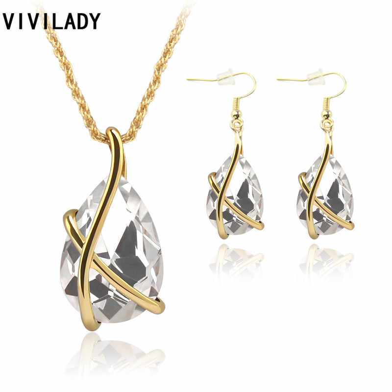 VIVILADY Fashion New Gold Color Water Drop Austrian Crystal Jewelry Sets Necklaces Pendants Earrings Women Valentine's Day Gift