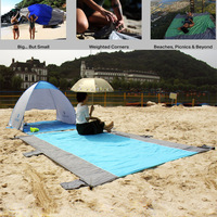 Beach Mat Big Sand Escape Compact Outdoor Camping sand free Nylon Beach Blanket Picnic with Sand Anchors and Valuables Pocket