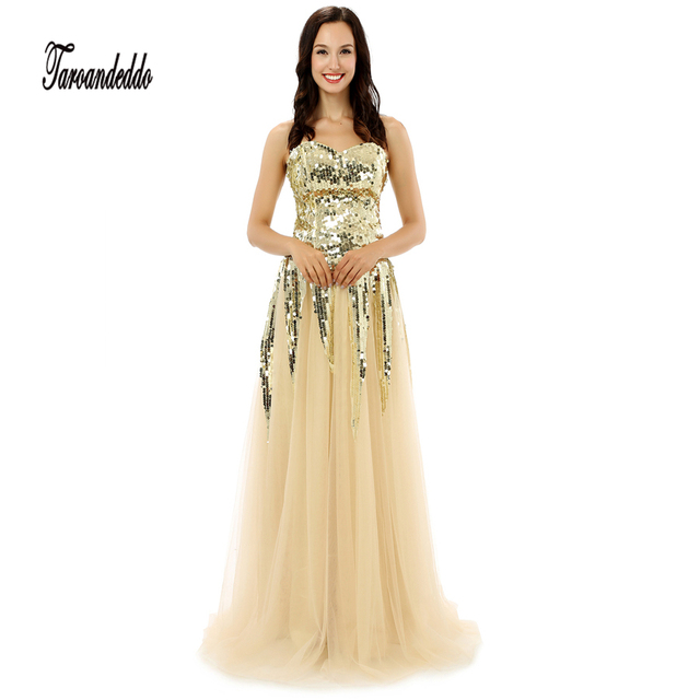 Strapless Gold Sequin and Tulle A line Prom Dress Long Sweep Train ...