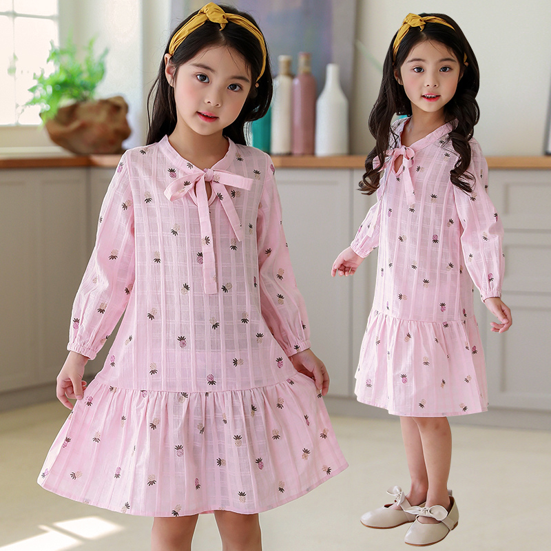 Retail Girls Princess Dress 2018 New Girls Spring Koran Fashion New Bow Long Sleeve Party Dresses Children Clothing Kids Clothes 2 7y princess children girls white lace dress brand new long sleeve toddler kids elegant party dresses one pieces clothing