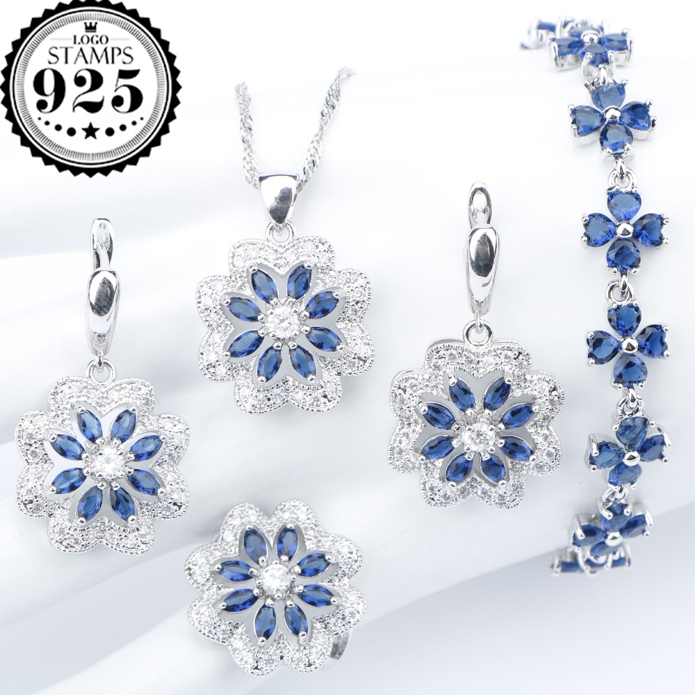 New Silver 925 Blue Zirconia Wedding Jewelry Sets Bracelets Earrings With Stones Rings Pendant Necklace For Women Set Gift Box orange morganite stylish jewelry set for women white zircon gold color rings earrings necklace pendant bracelets