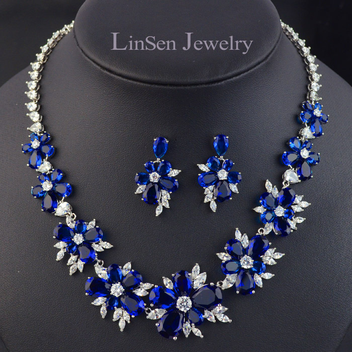New Design Luxury High Quality Red Green White Blue Flower Bridal Wedding Jewelry Sets Necklace Earring Set For Brides In From